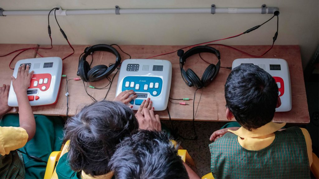 Braille Smart Class setup at Jyothi Seva Home for Blind in Bangalore.